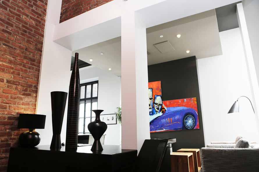 Modern schilderij Driving The Jaguar Interieur 2