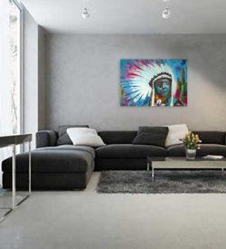 Figuratief schilderij Indiaan interieur-3