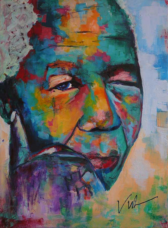 Figuratief Schilderij van een kleurrijke Nelson Mandela #1