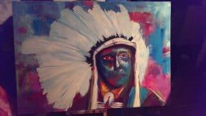 Kleurrijk schilderij Indiaan 4