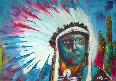 Kleurrijk schilderij Indiaan