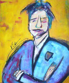 Kleurrijk schilderij van een zakenman genaamd Noussaka