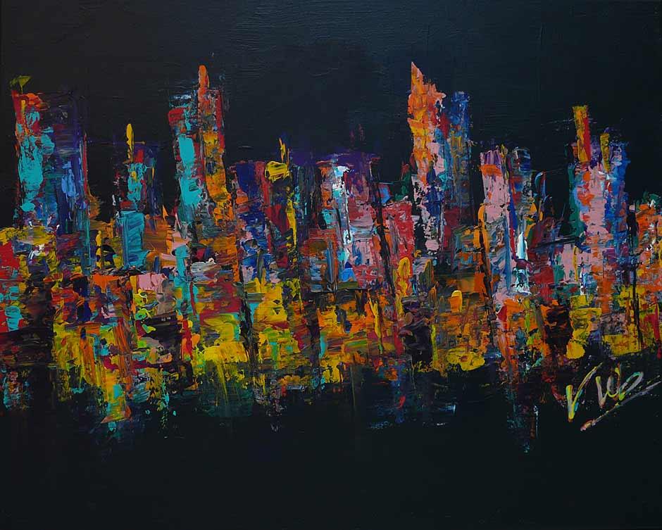 Modern Schilderij van een abstracte weegave van een stad bij nacht: City
