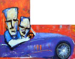 Modern schilderij van 2 mannen in een auto: Driving The Jaguar