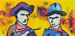 Modern schilderij met 2 kleurrijke cowboys: Hands Up! No! Ok...