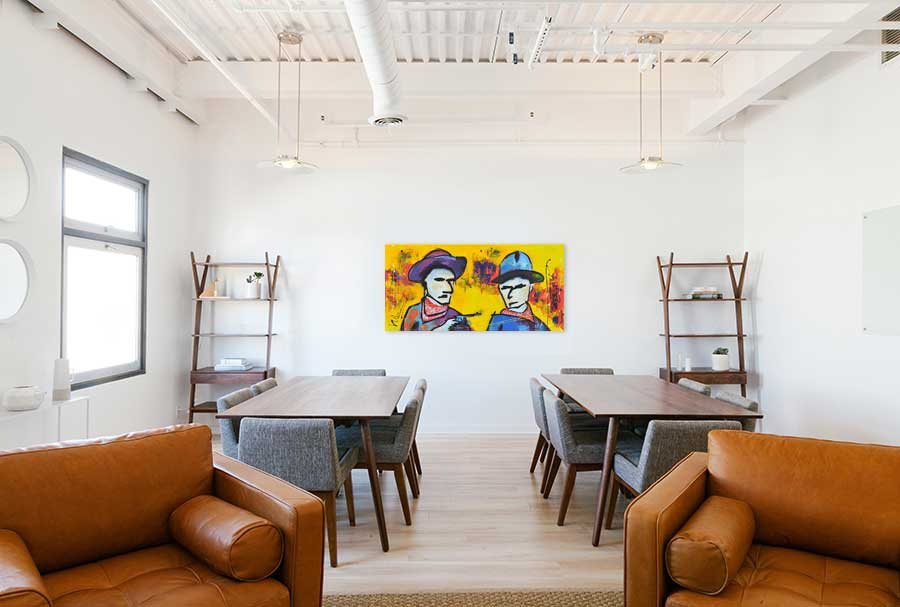 Modern schilderij Hands up! No !Ok... interieur-1