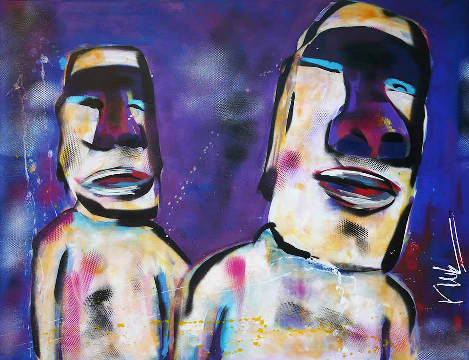 Modern schilderij van twee Paas eiland koppen: Rapa Nui