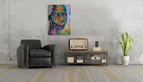 Figuratief Schilderij van een kleurrijke Nelson Mandela interieur 2