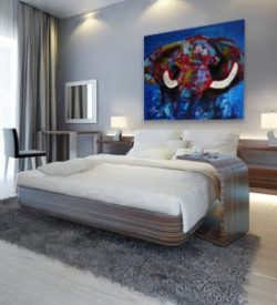 Dieren Schilderij van een olifant: Olifant interieur 1