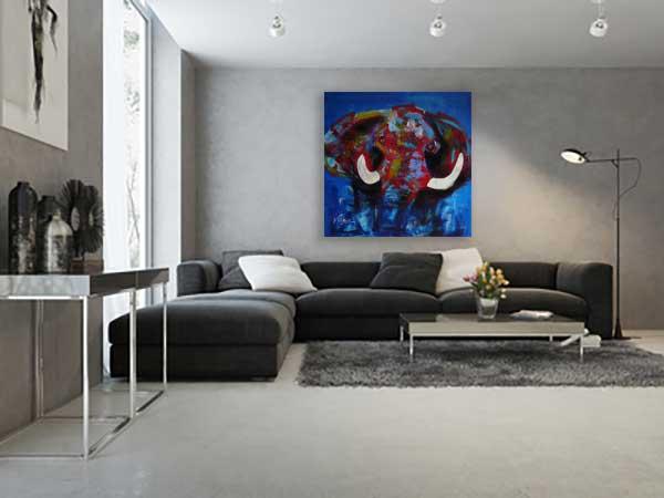 Dieren Schilderij van een olifant: Olifant interieur 3