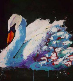 Modern schilderij van een zwaan: Zwaan