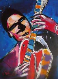 Kleurrijk modern schilderij van een gitaarspelende man: RockYou
