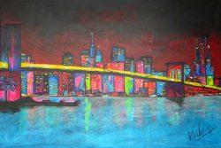 Stadsgezicht Schilderij NYC Brooklyn Bridge. Een stadsgezicht schilderij van New York