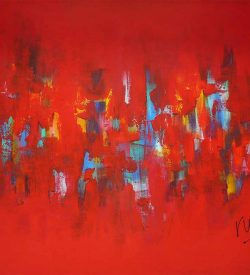 Abstract schilderij: Abstract Breakthrough met veel rood