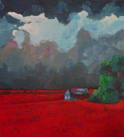 Modern schilderij - Rode Velden