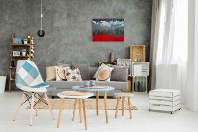 Modern schilderij Rode velden interieur-1