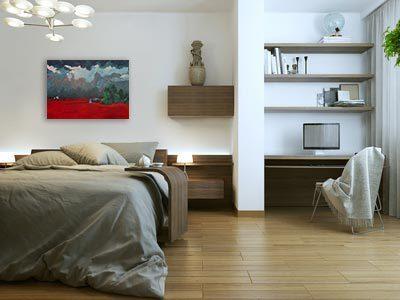 Modern schilderij Rode velden interieur-2