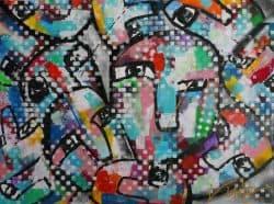 Modern schilderij Verborgen Gezichten