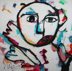 Kleurrijk schilderij van een abstracte keeper