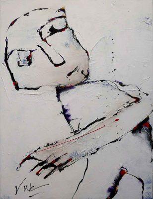 Modern Schilderij van een figuur dat lijkt op een persoon: Walker