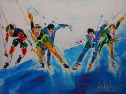 Modern schilderij Schaatsers