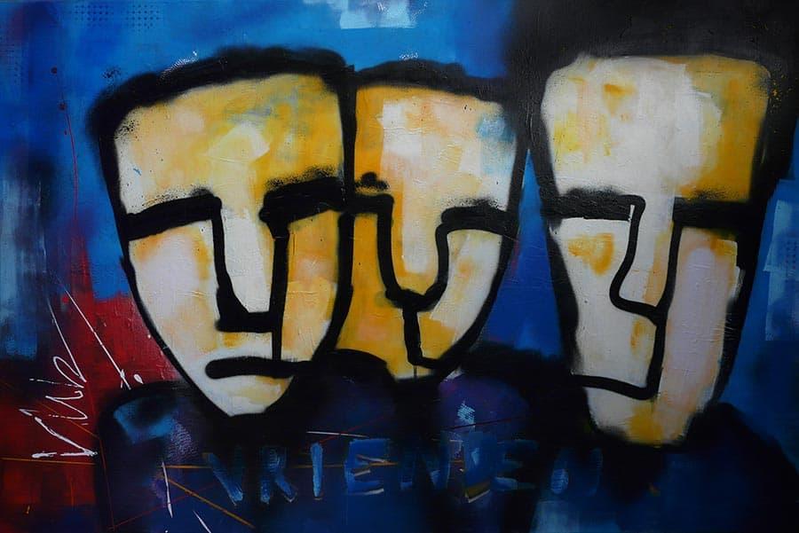 Modern schilderij Vrienden