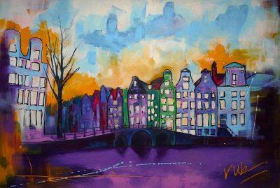 Kleurrijk stadsgezicht schilderij Amsterdam