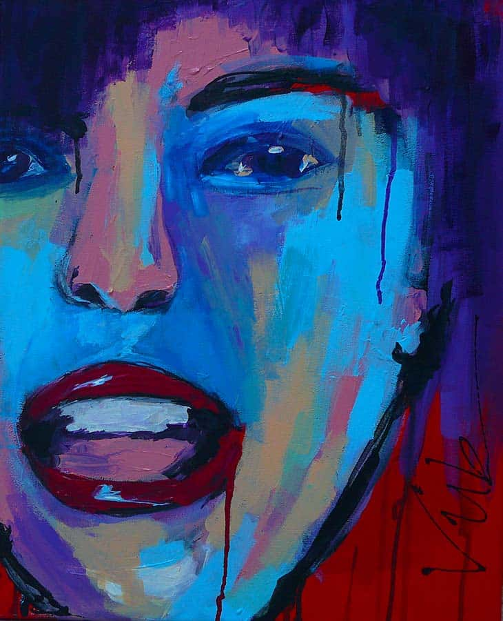 Modern schilderij van een gezicht