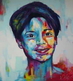 Kleurrijk portretschilderij van een jongen
