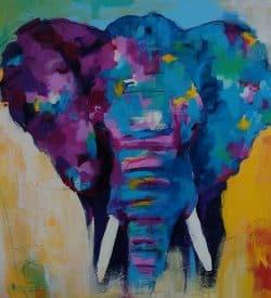 Modern en kleurrijk schilderij van een olifant
