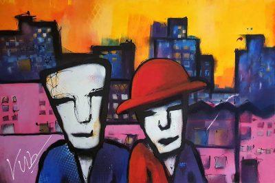 Modern schilderij in de stijlk van Herman brood - City