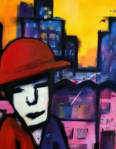 Modern schilderij in de stijlk van Herman brood - City detail
