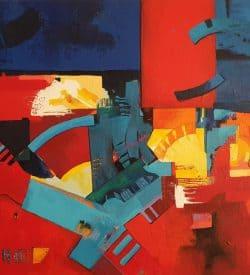 Abstract-schilderij-rood-blauw-geel