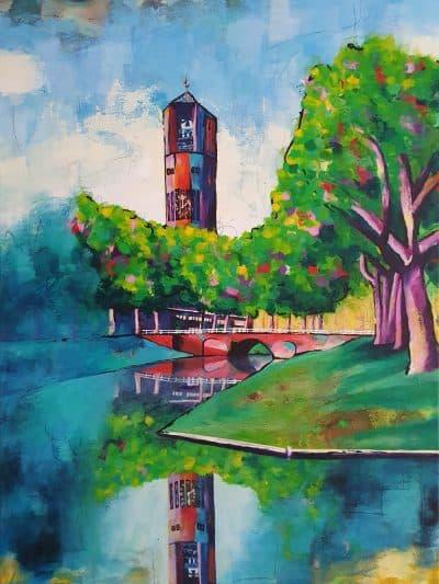 Modern schilderij poldertoren